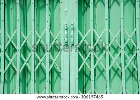 steel slide door - stock photo
