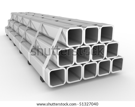 Steel square a profile on a white background - stock photo