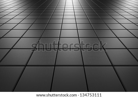 Steel square scratched tiles flooring perspective view shiny abstract ...