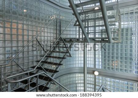 Steel stairway in a modern office building - stock photo