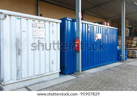 steel storage containers for toxic materials - stock photo