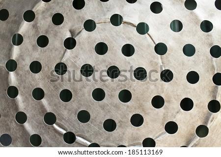 Steel strainer sieve metal bowl - stock photo