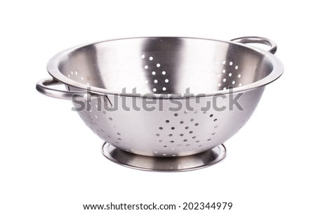 Steel strainer sieve metal bowl. Isolated on a white background.