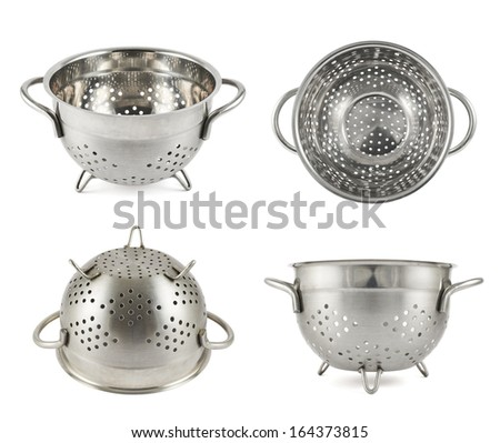 Steel strainer sieve metal bowl isolated over white background, set of four foreshortenings - stock photo
