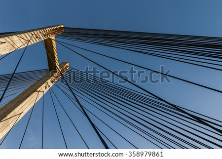 Steel Straps on the Tower of a Cable-Stayed Bridge - Metal straps or cables in the concrete tower cable-stayed bridge with a fan design