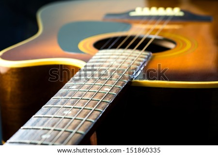 Steel string acoustic guitar - stock photo