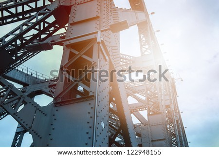 steel structure close-up - stock photo