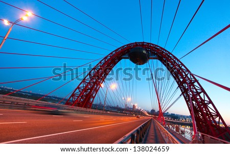 Steel structure of bridge at night