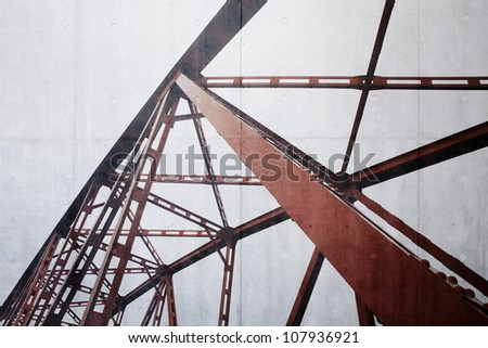 Steel structure on concrete wall