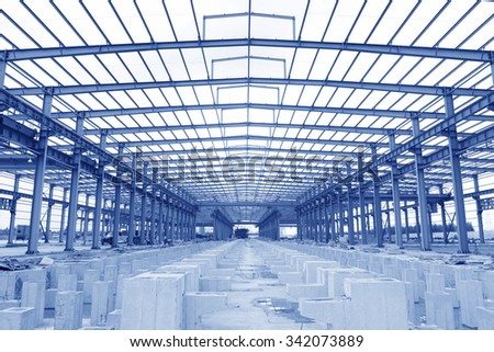 Steel structure workshop is under construction  - stock photo