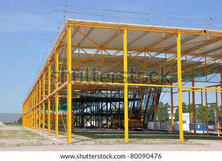 Steel structured building - stock photo