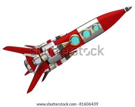 Steel stylized space rocket - stock photo