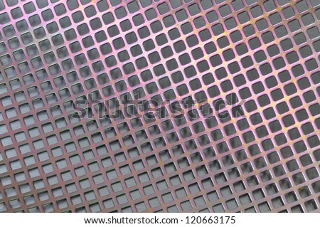 Steel surface with holes in the shape of squares