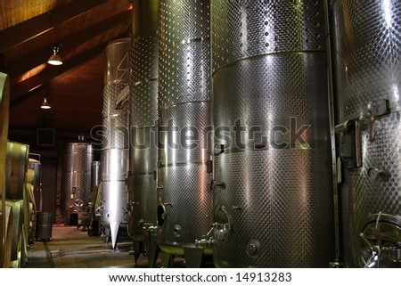 Steel tanks at a Long Island winery - stock photo