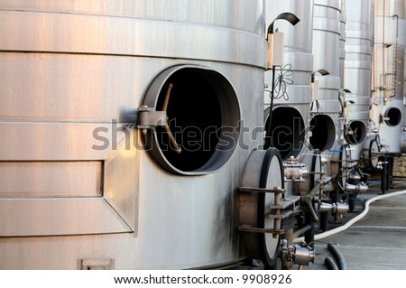 Steel tanks for wine making are waiting for the new harvest in Napa Valley, Sonoma County, California - stock photo