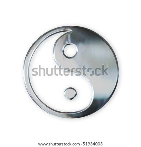 steel taoistic symbol - stock photo