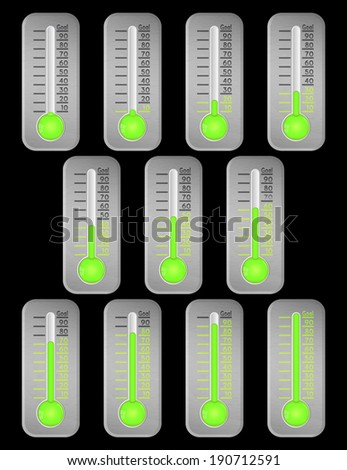 Steel thermometer green graphic showing progress towards goal on black, bitmap copy. - stock photo