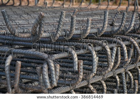 Steel tied for groundwork - stock photo