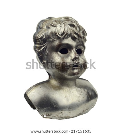 Steel tin vintage rust goblin ghost doll head isolated on white  - stock photo