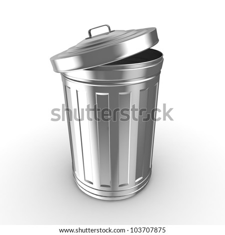 Steel trash can - stock photo