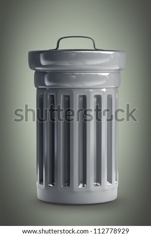 Steel trash can 3d render High resolution - stock photo