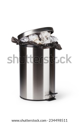 Steel trash can isolated on white