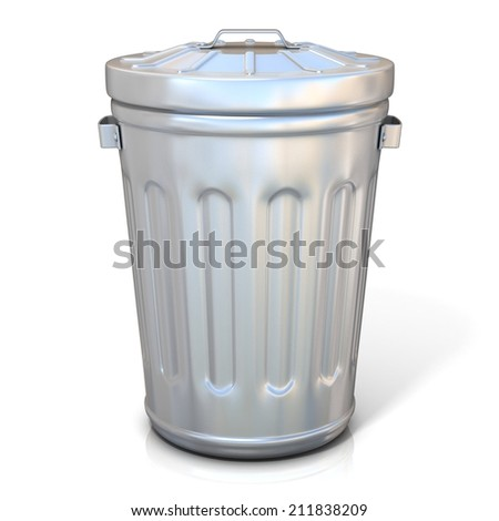 Steel trash can isolated on white background. Front view - stock photo