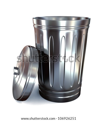 Steel trash can on white background - stock photo