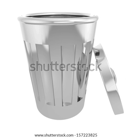 Steel trashcan 3d