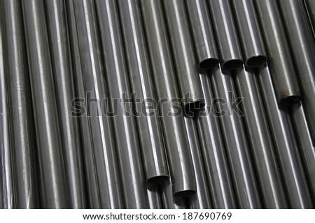 Steel tubes. - stock photo
