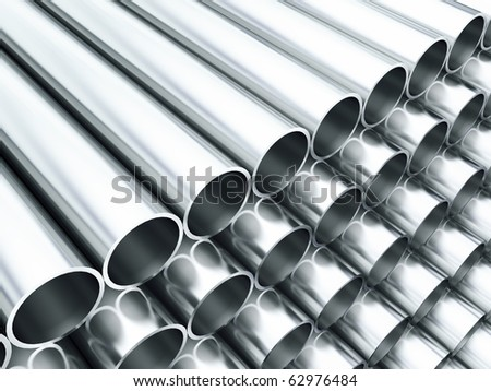 Steel tubes - stock photo