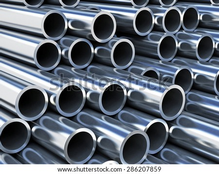 Steel tubes strack with reflection - stock photo