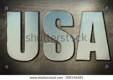 Steel USA sign on steel background texture - stock photo