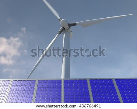 Steel Wind Turbine Tower and solar panels  Renewable Energy 3D Concept - stock photo