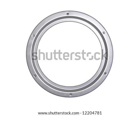 Steel window frame, illuminator - stock photo