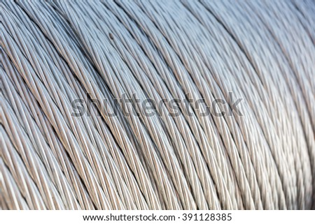 Steel wire rope cable, selective focus. - stock photo