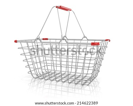 Steel wire shopping basket isolated on a white background. Side view - stock photo