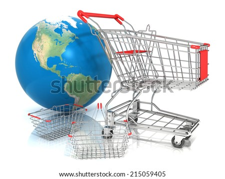 Steel wire shopping baskets and shopping cart in front of globe, isolated on a white background. Elements of this image furnished by NASA - stock photo