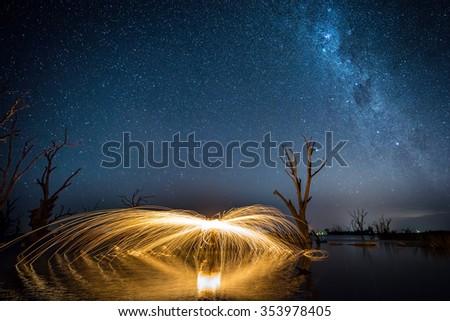 Steel Wool being spun in Lake Bonney, South Australia - stock photo