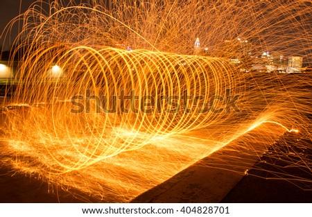 Steel Wool on fire - stock photo