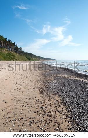 Steep Baltic sea coast at Jurkalne, Latvia. - stock photo