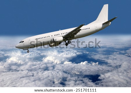 Steep descent aircraft landing gear and flaps - stock photo