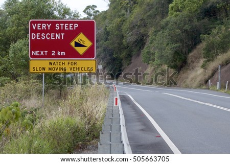 Steep descent sign.
