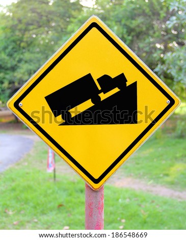 Steep grade hill traffic sign - stock photo