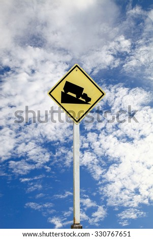 Steep grade hill traffic sign, with clipping path