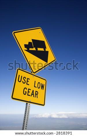 Steep grade truck road sign in Haleakala National Park, Maui, Hawaii. - stock photo