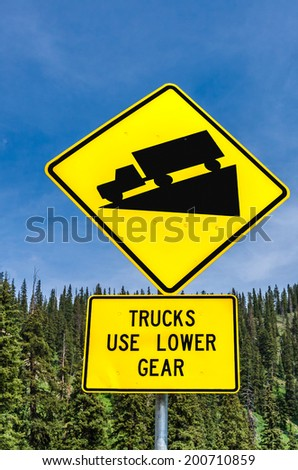 Steep grade warning sign - stock photo