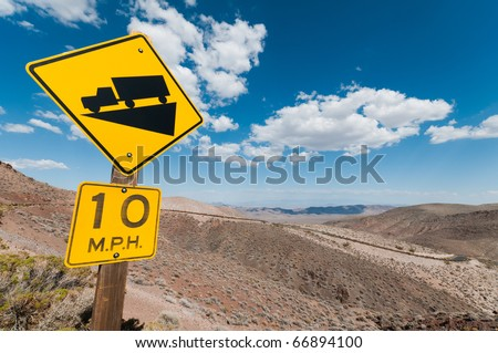 steep gradient truck warning sign - stock photo