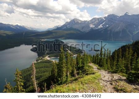 Steep hiking trail on ridge of mountain indefatigable at kananaskis country, alberta, canada - stock photo