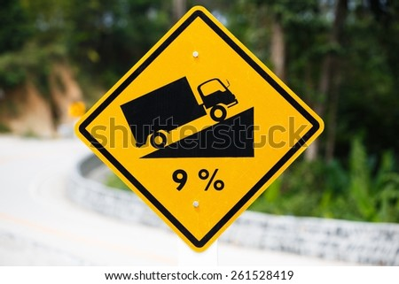 Steep Roadsign - stock photo